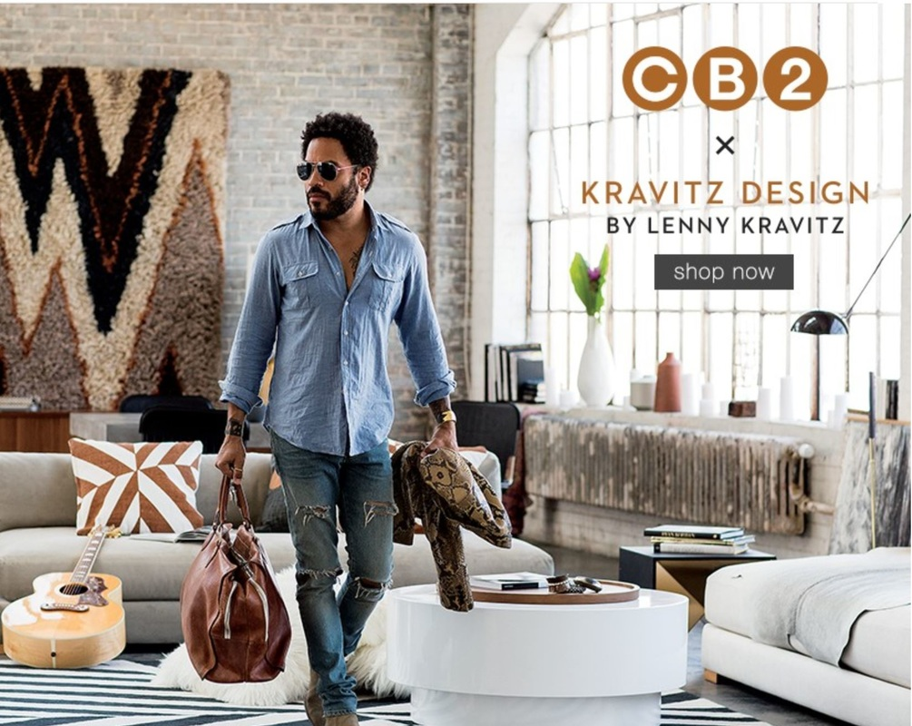 CB2 has just rolled out their Kravitz Design collection which includes 21 pieces, mainly pillows, two rugs, a couple chairs, a few tables and a lamp.